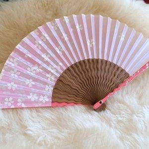 CHERRY BLOSSOM Silver Foil Japanese Fan
